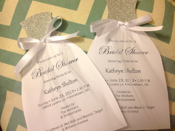how to diy bridal shower invitations we tie the knots. Black Bedroom Furniture Sets. Home Design Ideas